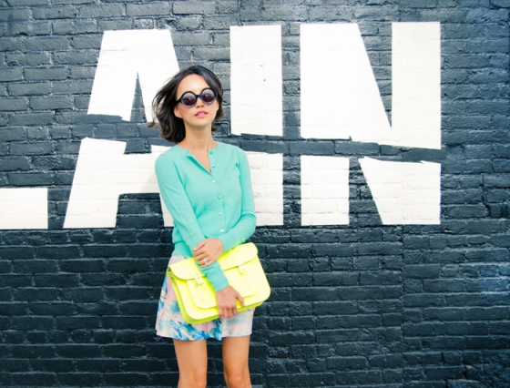a misspouty blog pastel jade jcrew cardigan watercolor silk skirt cambridge satchel fluoro karen walker number six street style fashion blogger newyork06